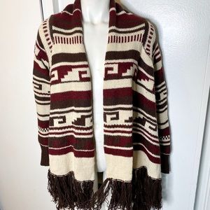 Forever 21 Wine Brown Boho Fringe Cardi Sweater L